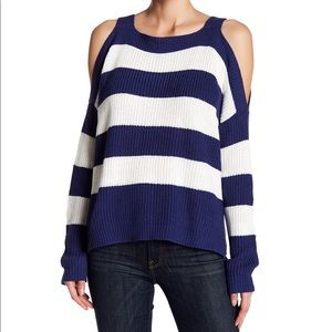 NWT Striped Cold Shoulder Sweater